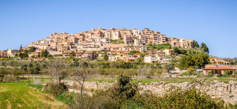 Panoramic view of the medieval village of Sant Joan de Horta in Catalonia, Spain