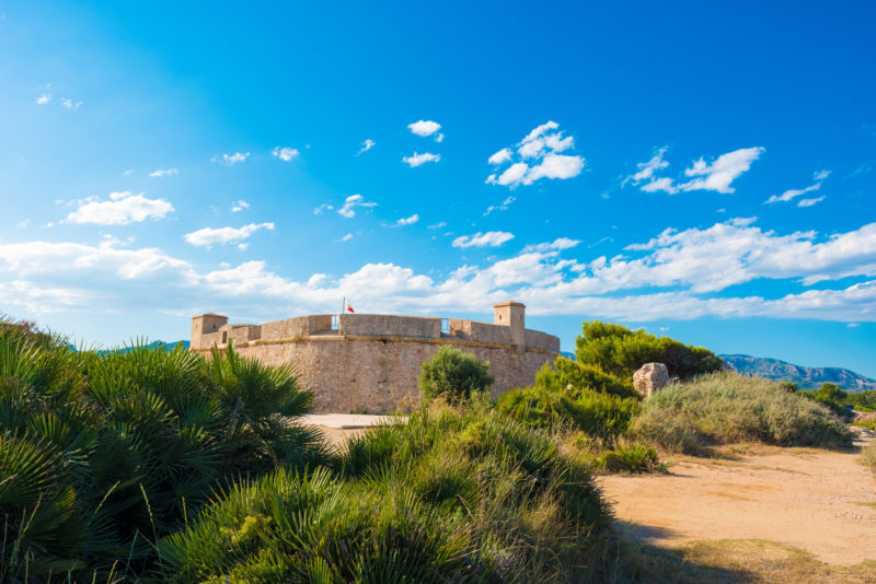 A view of Sant Jordi de Alfama Fortress in Ametlla de Mar, Spain. Space for text. Copy space